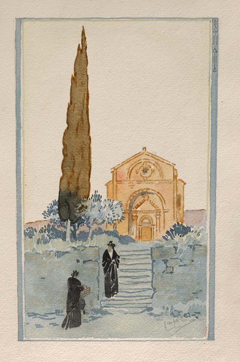 Figure 2. Léo Lelée, study for La louange du cyprès, watercolor, set of 50 original drawings. Paris, INHA library, BAA collection, Ms 424.