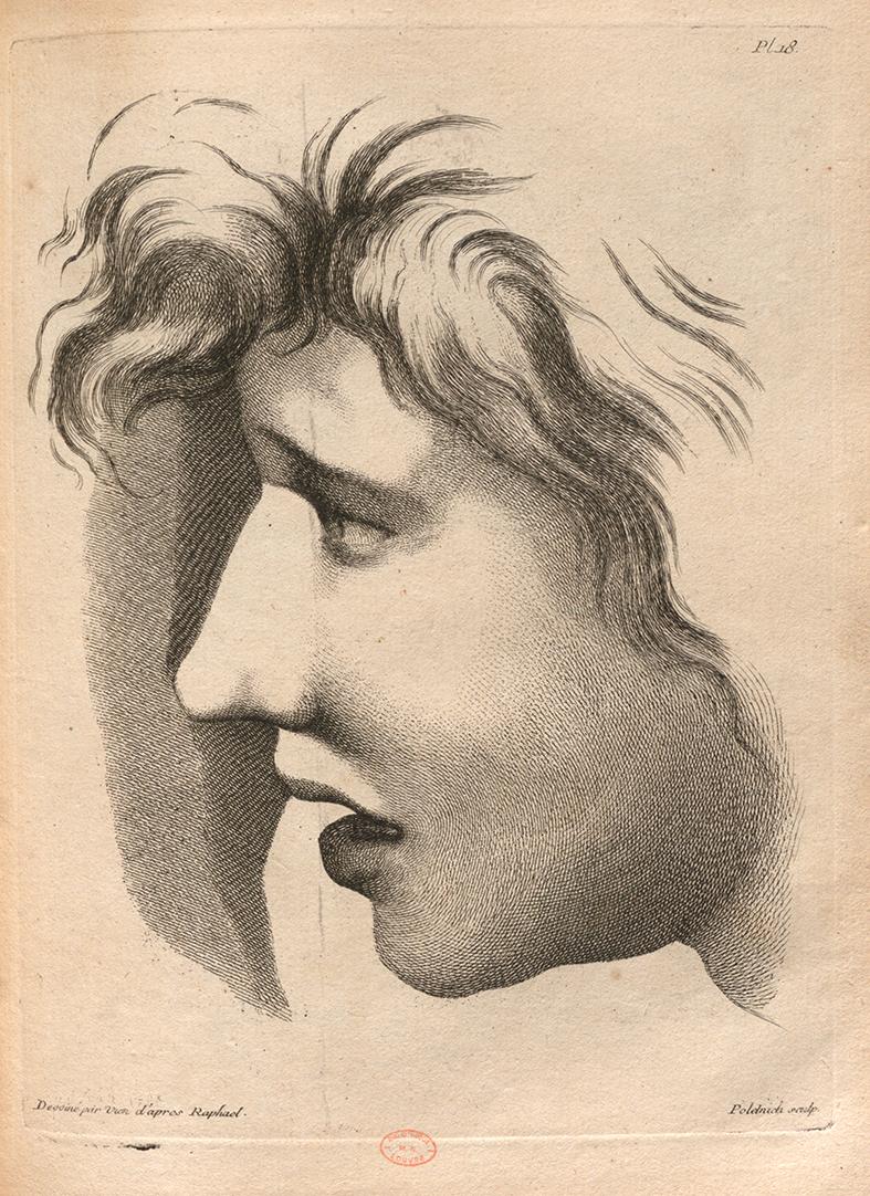 Figure 3: Joseph-Marie Vien after Raphael, plate no. 18 of the Méthode pour apprendre le dessein by Charles-Antoine Jombert, etching and engraving, Paris, 1755. Paris, INHA library, BCMN collection, Res 4 D 0624.