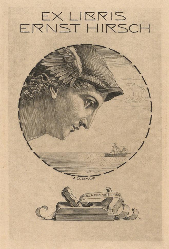 Figure 6 Ex-libris of Ernst Hirsch. Hermann Schmitz, Das Möbelwerk : die Möbelformen vom Altertum bis zur Mitte des 19. Jahrhunderts, Berlin, 1929. Paris, INHA library, BCMN collection, 4 M 0070.