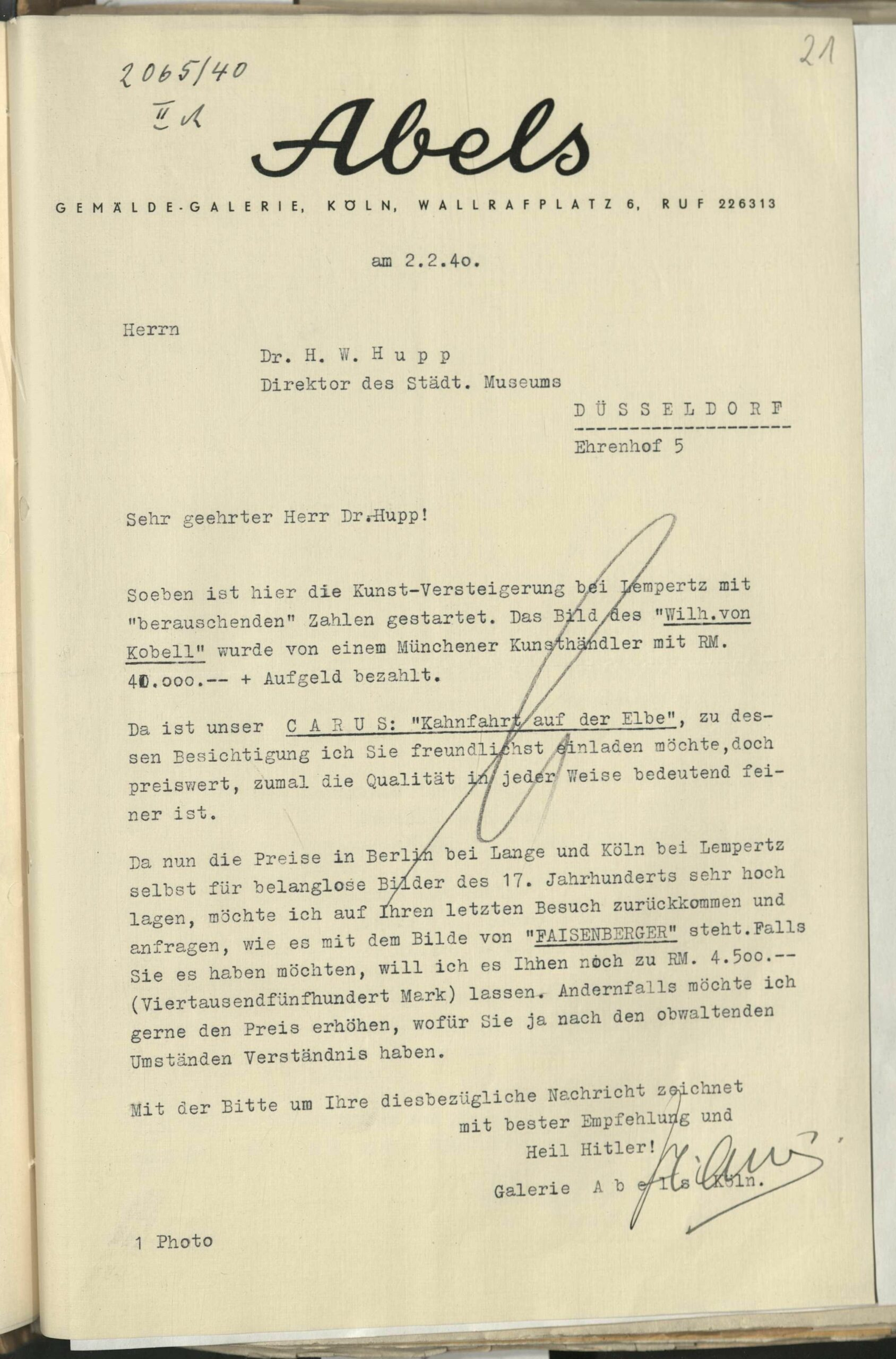 """Abb. 2 Original des Angebots von Carl Gustav Carus """"Kahnfahrt auf der Elbe"""" durch die Gemäldegalerie Abels (Köln) mit Provenienzangabe aus dem sächsischen Königshaus."""