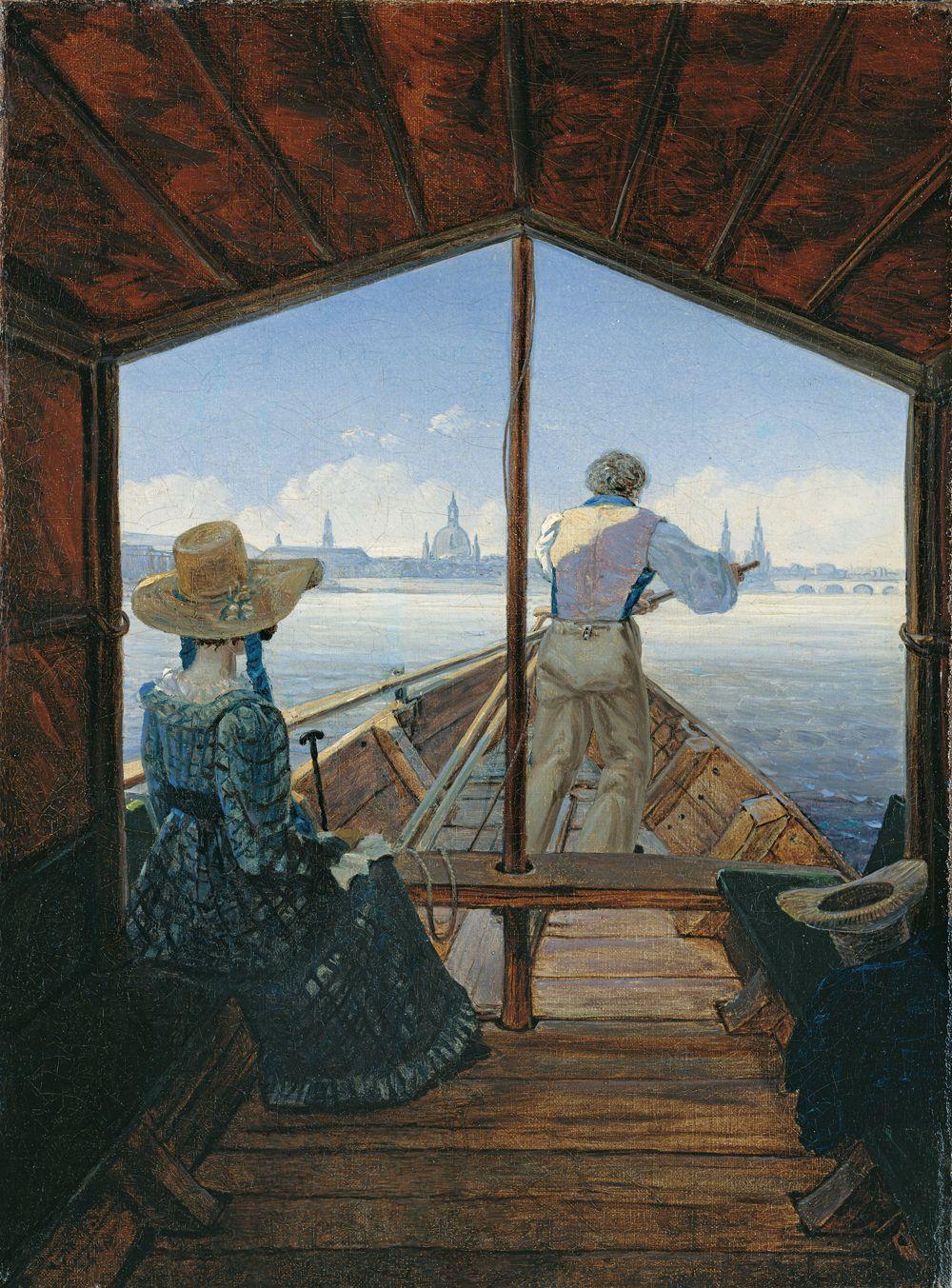 Abb. 5 Carl Gustav Carus (1789-1869), Die Kahnfahrt auf der Elbe bei Dresden (Ein Morgen auf der Elbe), 1827, Öl auf Leinwand, 29 x 22 cm, Inv.-Nr. M 130, © Kunstpalast – ARTOTHEK