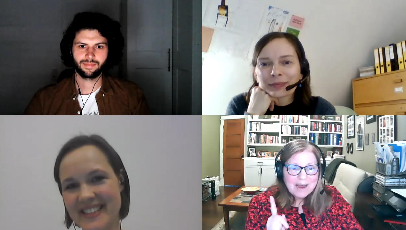 Abb. Screenshot des Interviews von links oben im Uhrzeigersinn: Robin Knapp (Medienproduzent), Dr. Katja Lindenau (SKD), Carol Heumann Snider, Melanie Wittchow (Lenbachhaus München)