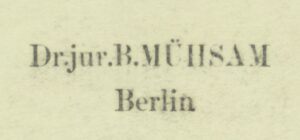 """Stamp """"Dr. jur. B. Mühsam"""" in a German edition of Shakespeare's collected works, 1872"""