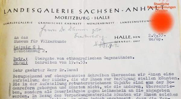 Wissenschaftliche Sammlungsdokumentation GRASSI Museum für Völkerkunde zu Leipzig, Auszug Aktenstück 1953/24 (© Staatliche Kunstsammlungen Dresden)